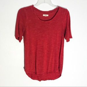 Madewel Heathered Red Comfy Burnout Tee Small
